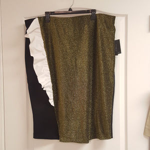 Eloquii NWT Gold Sparkle Skirt with Ruffle